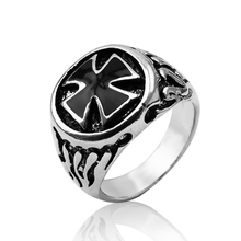 Punk Man Ring Black Male Ring High Quality Jewelry Size:8 9 1 0 11 Antique Silver Cross Rings For Men Ring Free Shipping(China)