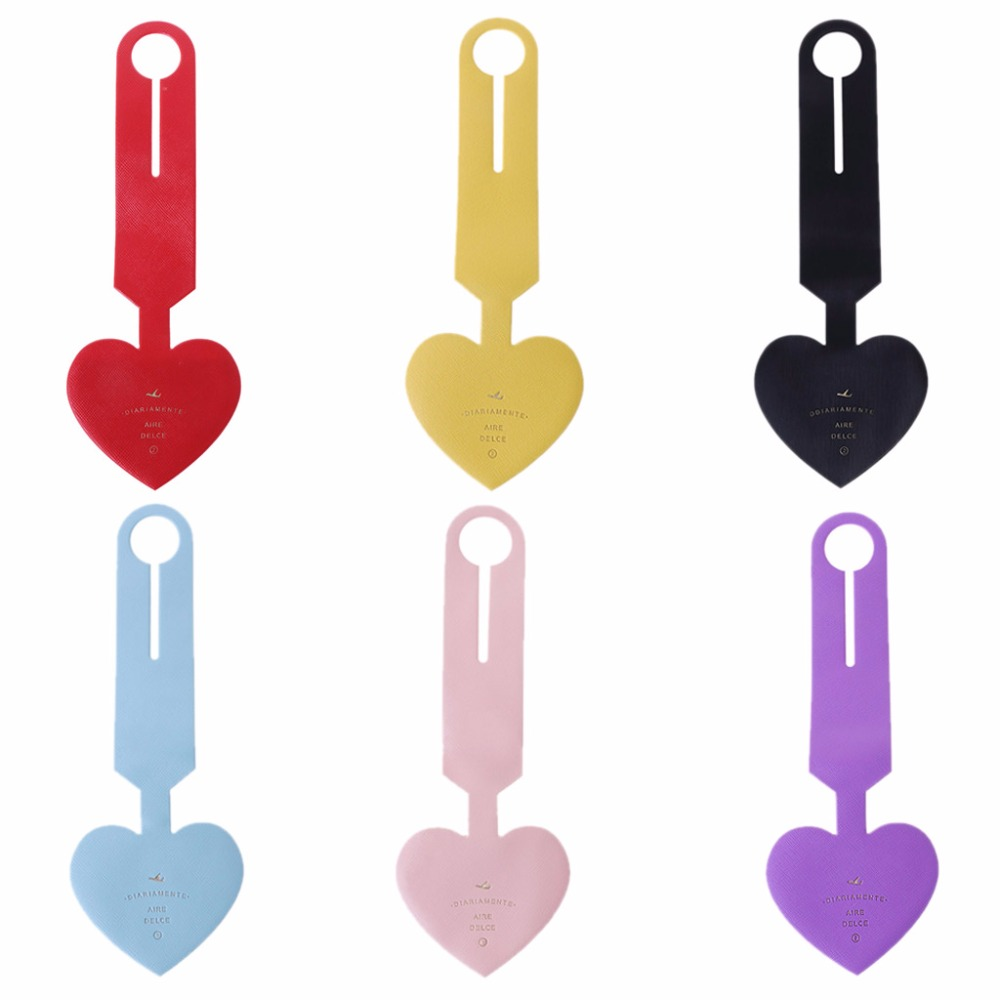 PVC Portable Heart Shape Travel Luggage Tags Baggage Suitcase Bag Labels Name Address 6 Color