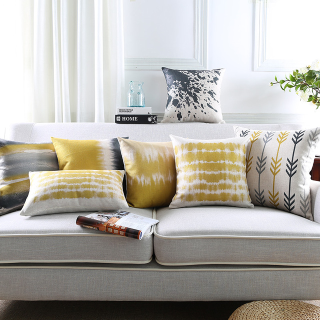 Abstract Grey Yellow Pillow Cover Geometric Cushion Decorative Throw Home Decor Pillowcase Pillowsham