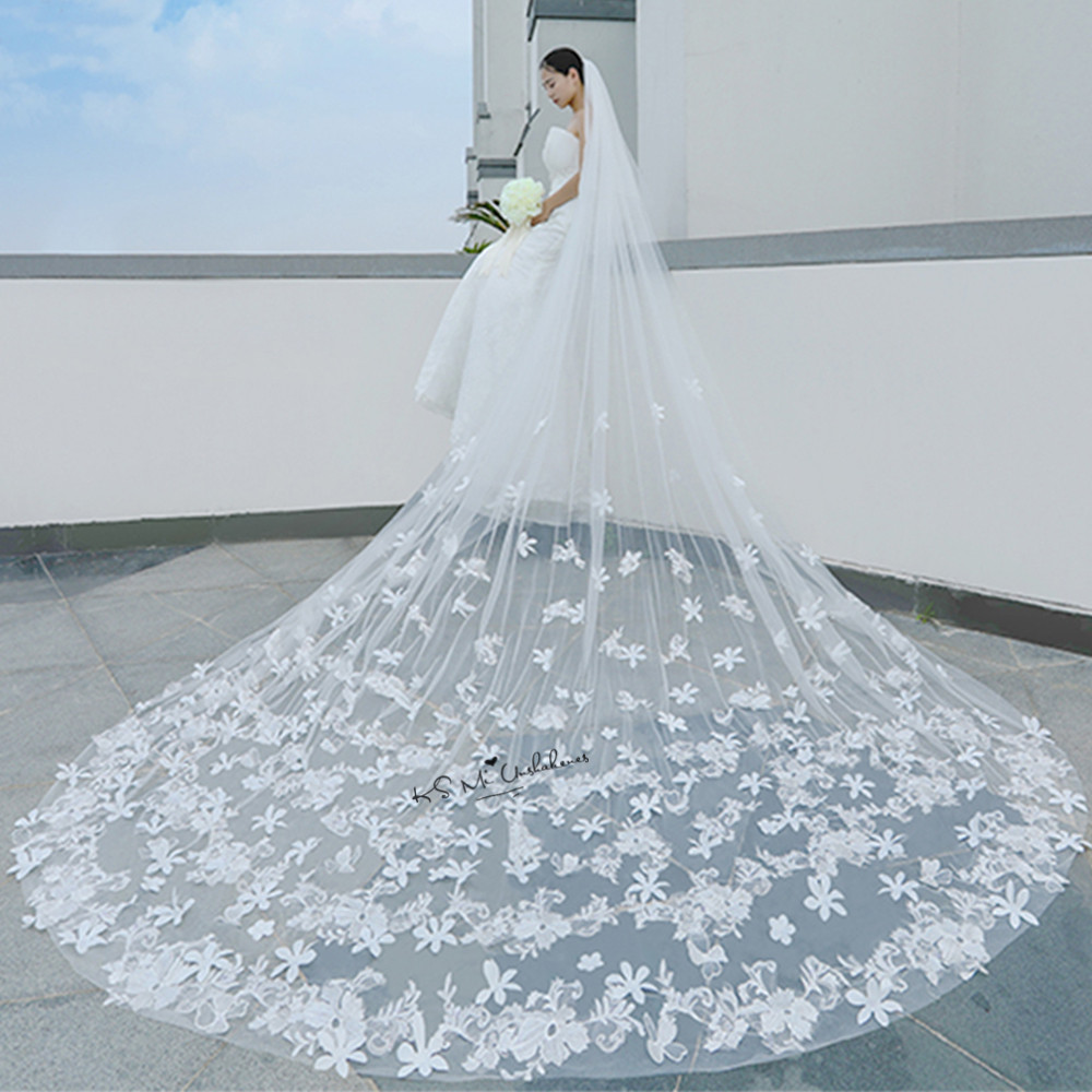 Romantic White Ivory Cathedral Wedding Veils Long Lace Edge Flowers ...