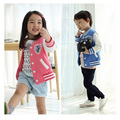 2016 New spring&summer girls jackets casual hooded outerwear for girls fashion letters Hand Painted casual kids clothing girls