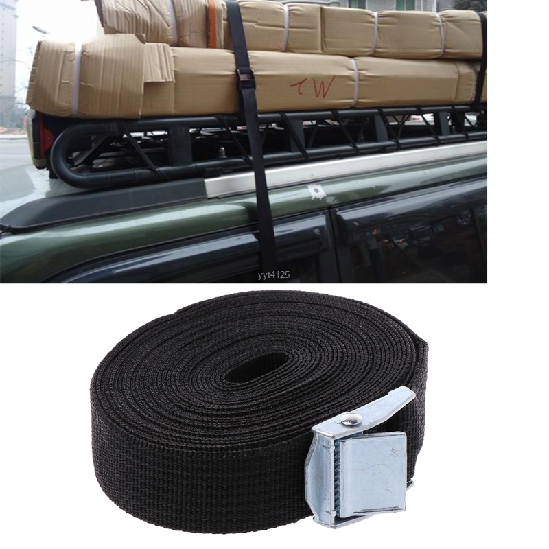 5M*25mm Car Tension Rope Tie Down Strap Strong Ratchet Belt Luggage Bag Cargo Lashing With Metal Buckle wholesale