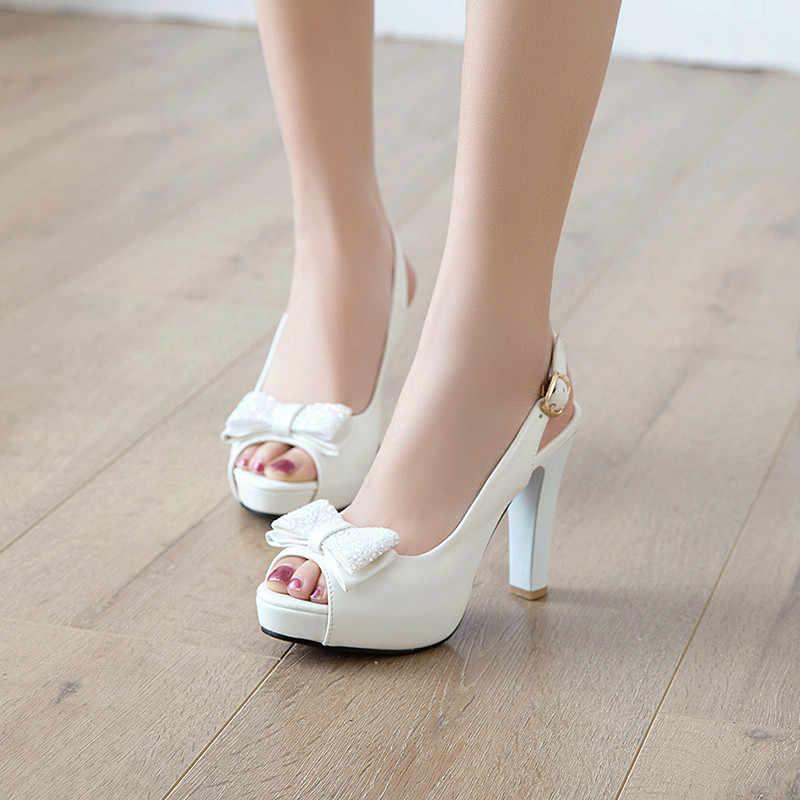 YMECHIC 2019 Summer Fashion Butterfly-knot Peep Toe Slingbacks Ladies White  Bride Wedding Shoes Plus f26da8ff6033