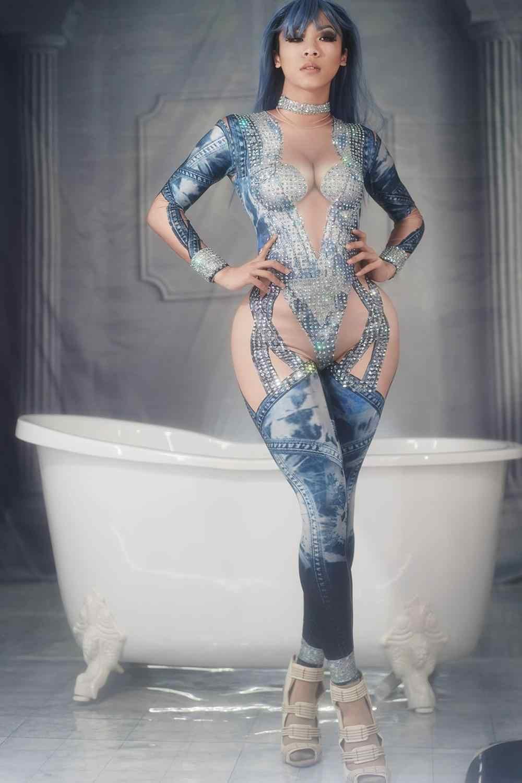 Джинсовый комбинезон с узором, стразы, сексуальный костюм для женщин, для сцены, танцев, стрейчевый комбинезон, одежда для ночного клуба