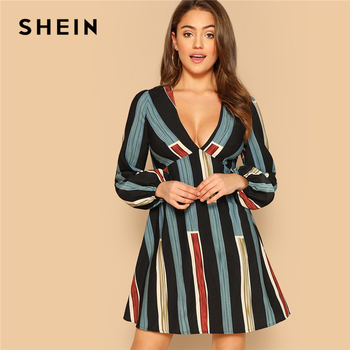 SHEIN Sexy Multicolor Deep V-neck Empire Waist Striped A-line Mini Shirt Dress Women Autumn 2019 Long Sleeve Flare Dresses a-line