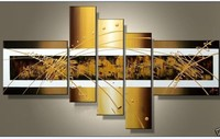 5 Piece Perfect Gold Lines Hand Painted Modern Abstract Oil Paintings On Canvas Wall Art