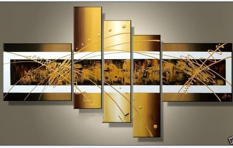 canvas wall art sets இ5 Piece Perfect Gold Lines Hand Painted Modern Abstract Oil  canvas wall art sets