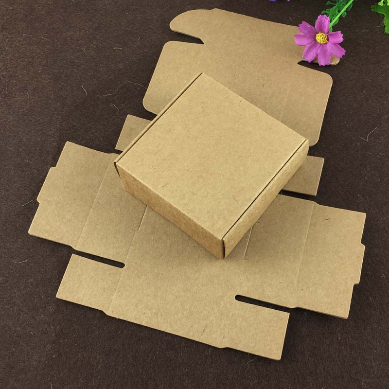 100PCS 6.5*6.5*3cm Kraft Gift Box Paper Packing Box Blank Gift Boxes Paper Gift Craft Power Blank Packaging Cardboard Boxes