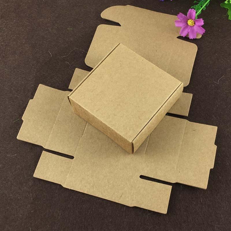 100PCS 6.5*6.5*3cm Kraft Gift Box Paper Packing Box Blank Gift Boxes Paper Gift Craft Power Blank Packaging Cardboard Boxes