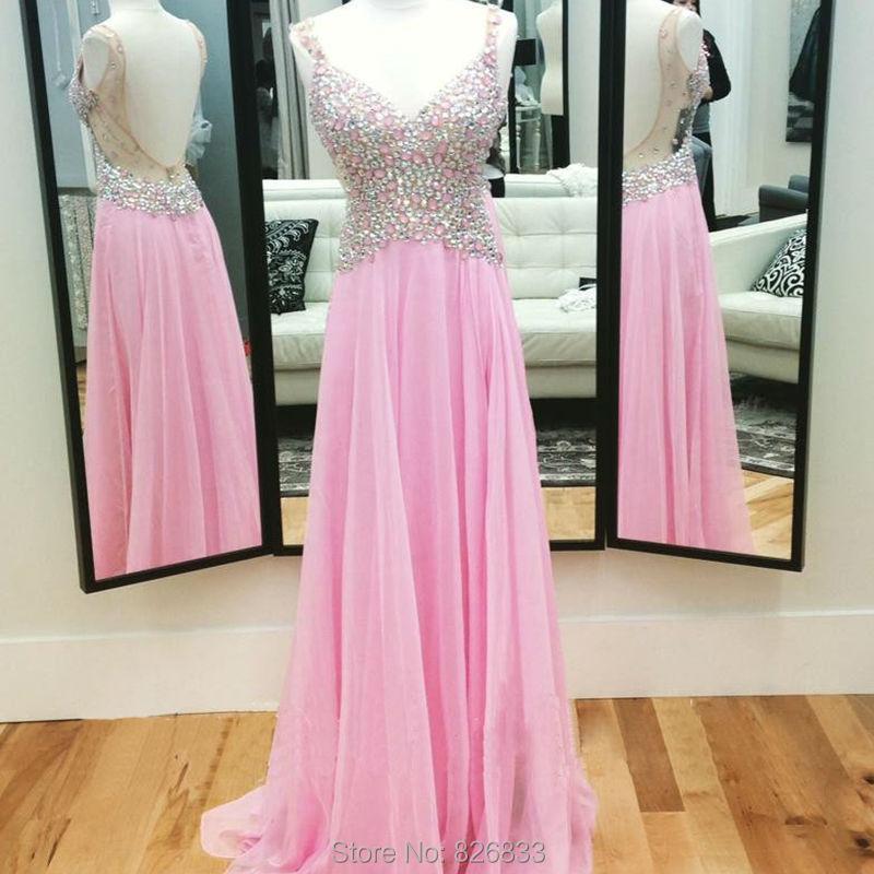 Chispa cristales de color rosa largo vestido de fiesta sin respaldo ...
