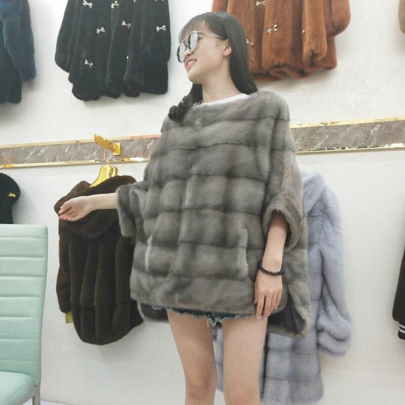 Nuevo abrigo de piel de visón real para mujer Invierno cálido y - Ropa de mujer - foto 6