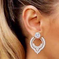 GODKI luxe mode pleine zircone cubique Stud boucle d'oreille pour les femmes de mariage Brincos boucle d'oreille 2019 à la mode bohême bijoux chaud
