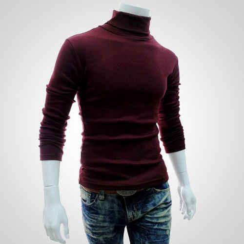 Otoño Invierno 2019 nuevos hombres delgados calientes de algodón de cuello alto Jersey superior de cuello alto suéteres