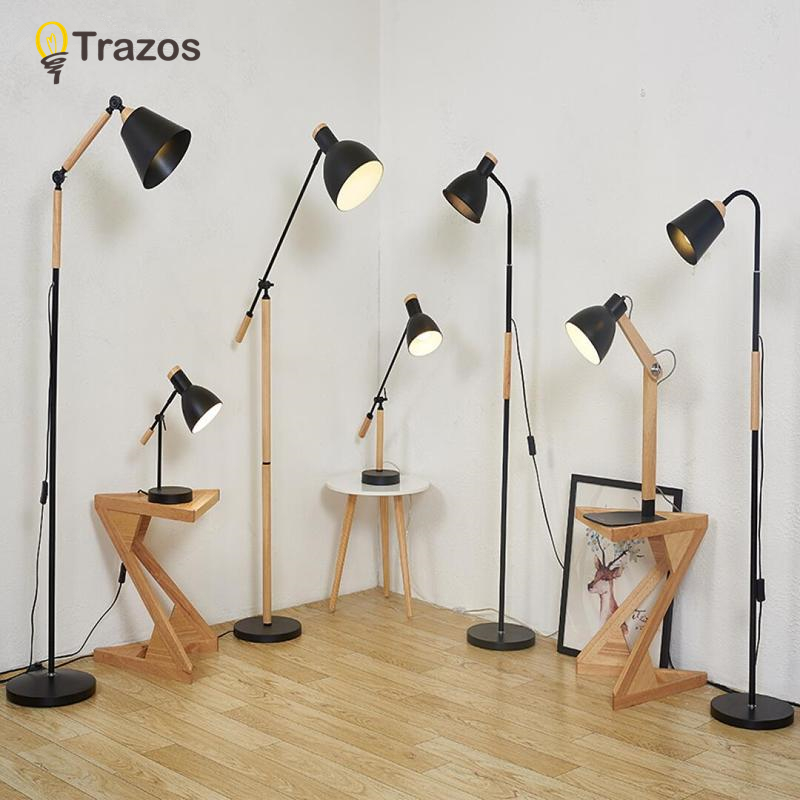 TRAZOS Living Room Floor Lamp with Built-In Tray Standing Light For Home Deco Reading Luminaria de mesa Cloth Lighting Fixtures