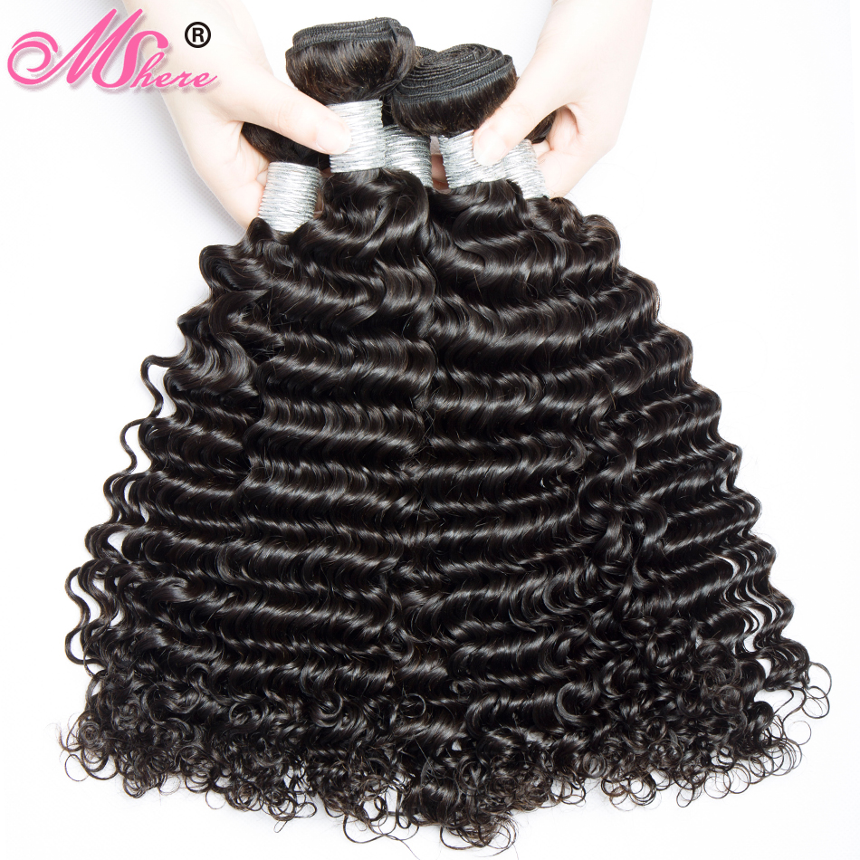 Afro Deep Curly Hair Human Hair Bundles Peruvian Remy Hair 400g Lot Mshere 100 Human Hair