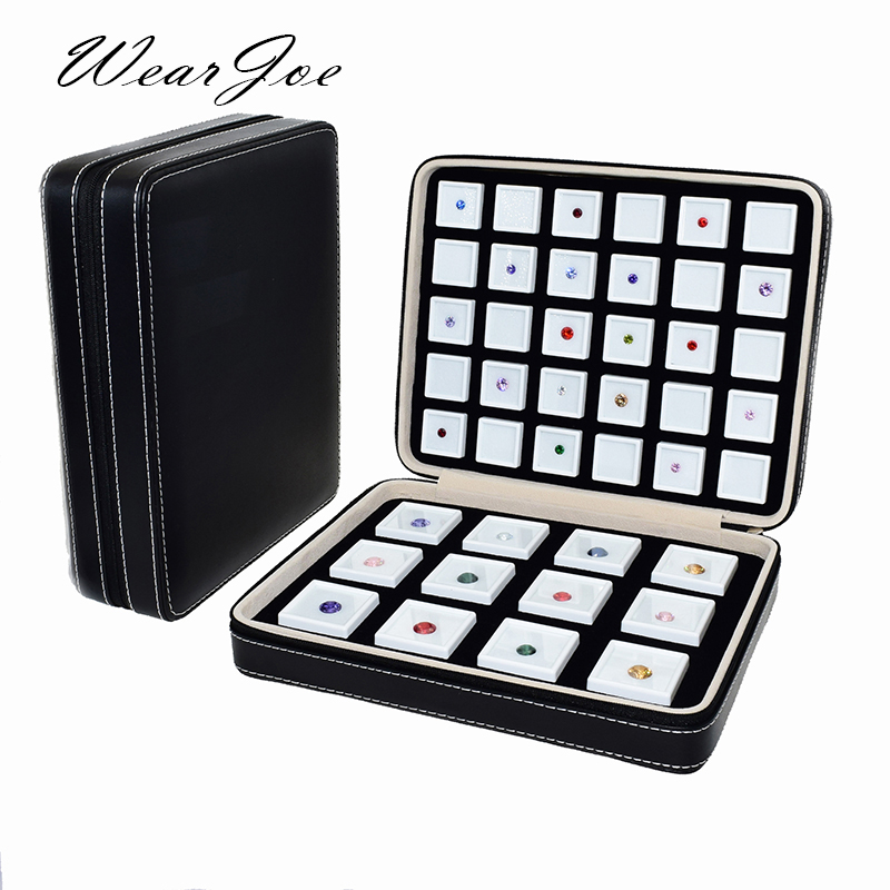 Boîte de gemme en cuir d'unité centrale portative de qualité insère l'affichage de stockage de pierre gemme sac Ziplock de voyage organisateur de diamant en vrac boîte de gemme conteneur