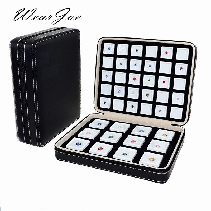 Inserir uma Caixa De Exibição De Armazenamento portátil Qualidade Jóia De Couro PU Pedra Preciosa Ziplock Viagem Saco Organizador Recipiente Caixa De Jóia do Diamante Solto