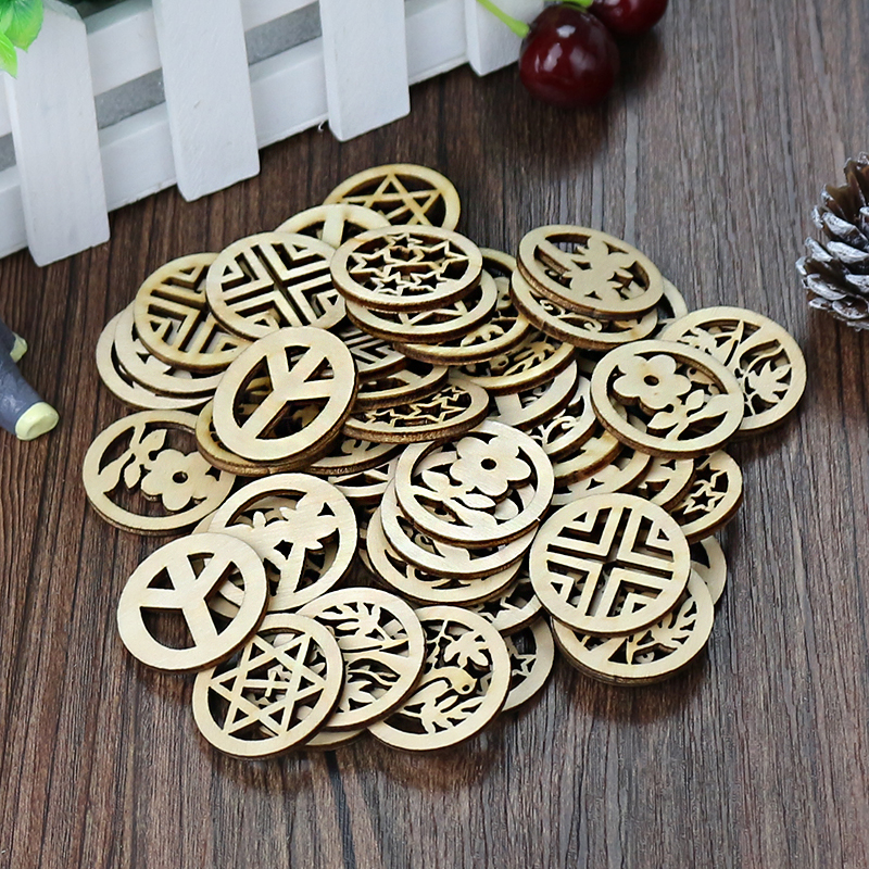 Mixed Design Round Carve Patterns Wooden Slices 3cm For Handmade Diy