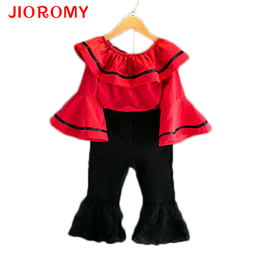 JIOROMY 2017 Girls Fashion Suit Tops + Pants 2 Sets Horns Sleeves Lotus Leaf Word Lace Bass Pants Street Beat Style Kids Clothes fashion girls new suit tops and pants 2 sets flare sleeve lotus leaf pattern o neck lace bass pants street style girl clothes