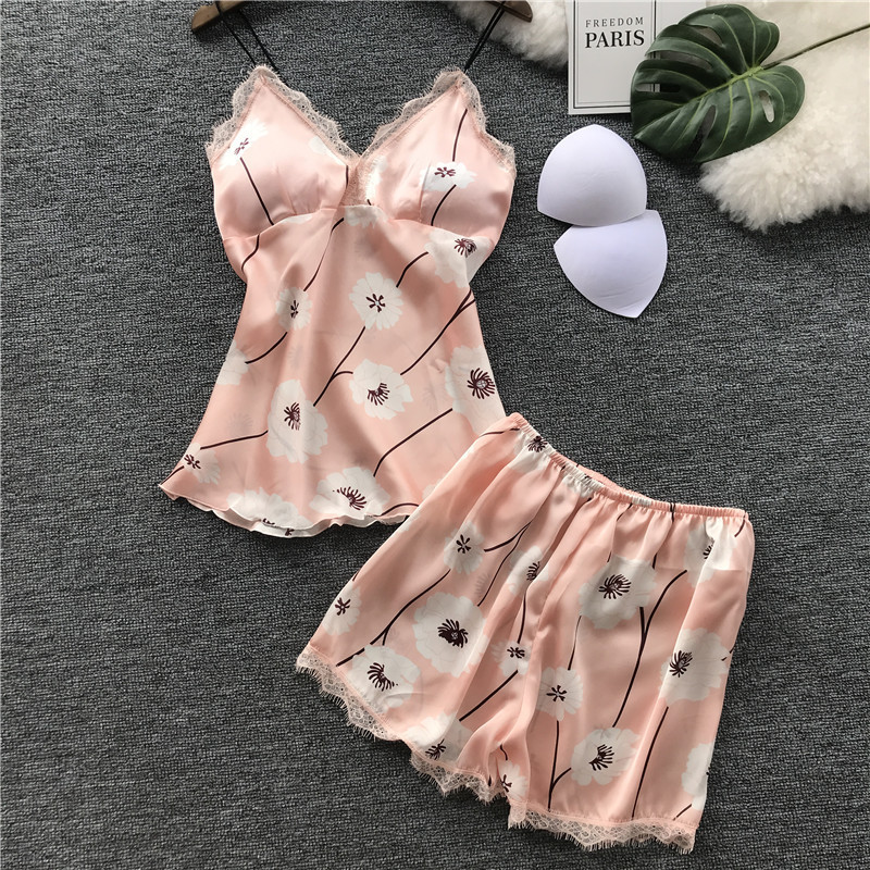 Ice Silk With Pad   Pajamas   Woman Summer Sexy Printing Camisole Shorts   Pajama     Set