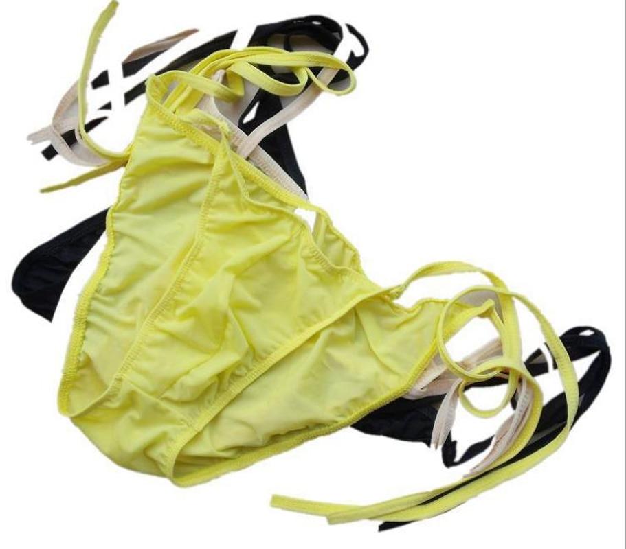 Nízký pas Sexy Ice hedvábí pánské spodní prádlo pánské kalhotky proužky pohodlné krátké kalhotky ZJH022S