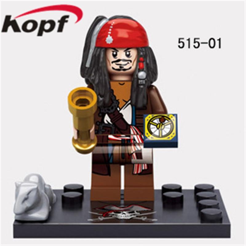 Pirates of the Caribbean Captain Jack Sparrow David Jones Maccus Santos Henry Carina Smith Building Blocks Kids Toys KSZ515 518