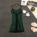 Lisacmvpnel Spaghetti Strap With Pad Women Nightgown Lace Sexy Deep V Female Lingerie Dress