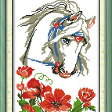 Charming Horse Cotton Animal Cross Stitch Kits Canvas 11CT A