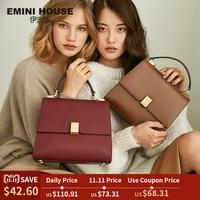 EMINI HOUSE Retro Style Luxury Handbags Women Bags Designer Simple Padlock Shoulder Crossbody Bags For Women Split Leather