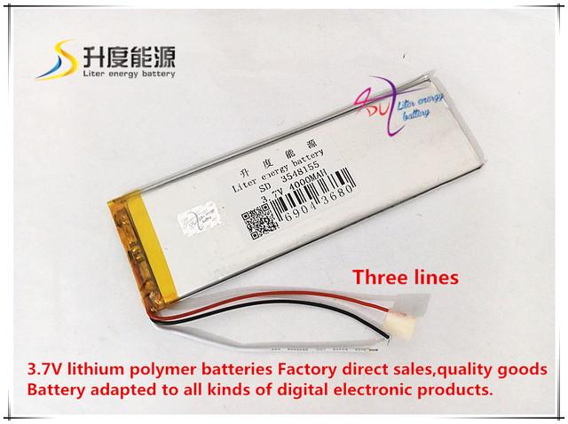 3.7 V 4000 mAH 3548155 (íon de lítio polímero bateria/Li-ion) para E-BOOK tablet pc banco de Potência