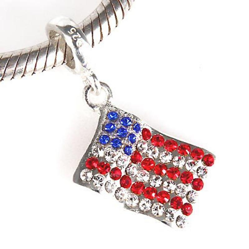 Silver American Flag * CHARM for bracelet RhryrV8hK