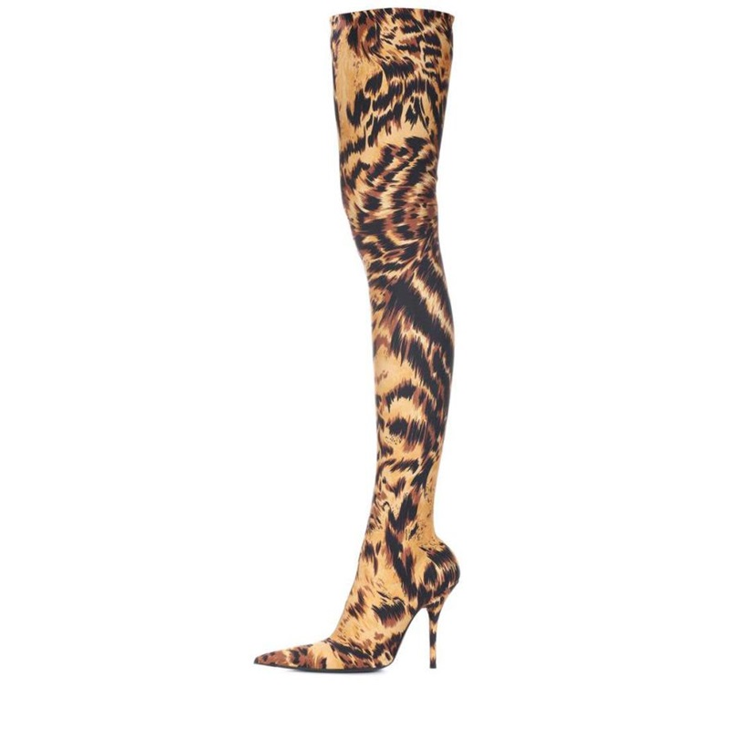 Stretch Suede Women Thigh High Boots Stilettos Sexy Over the Knee Leopard Print Boots Pointy Toe High Heel Long Performance Boot black stretch fabric suede over the knee open toe knit boots cut out heel thigh high boots in beige knit elastic sock long boots