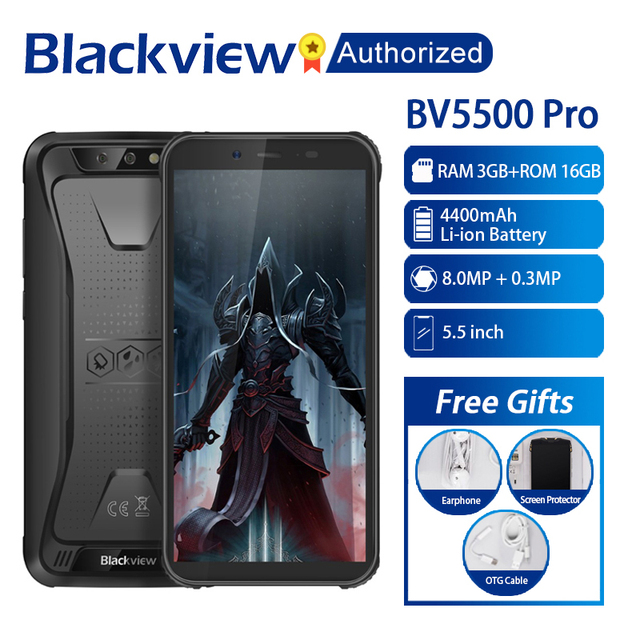 "Blackview BV5500 Pro Mobile IP68 Waterproof Smartphone 5.5"" Screen 3GB RAM 16GB ROM Android 9.0 MT6739V Quad Core 1.5GHz 4G OTG"