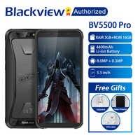"""Blackview BV5500 Pro Mobile IP68 Smartphone étanche 5.5 """"écran 3 GB RAM 16 GB ROM Android 9.0 MT6739V Quad Core 1.5 GHz 4G OTG"""