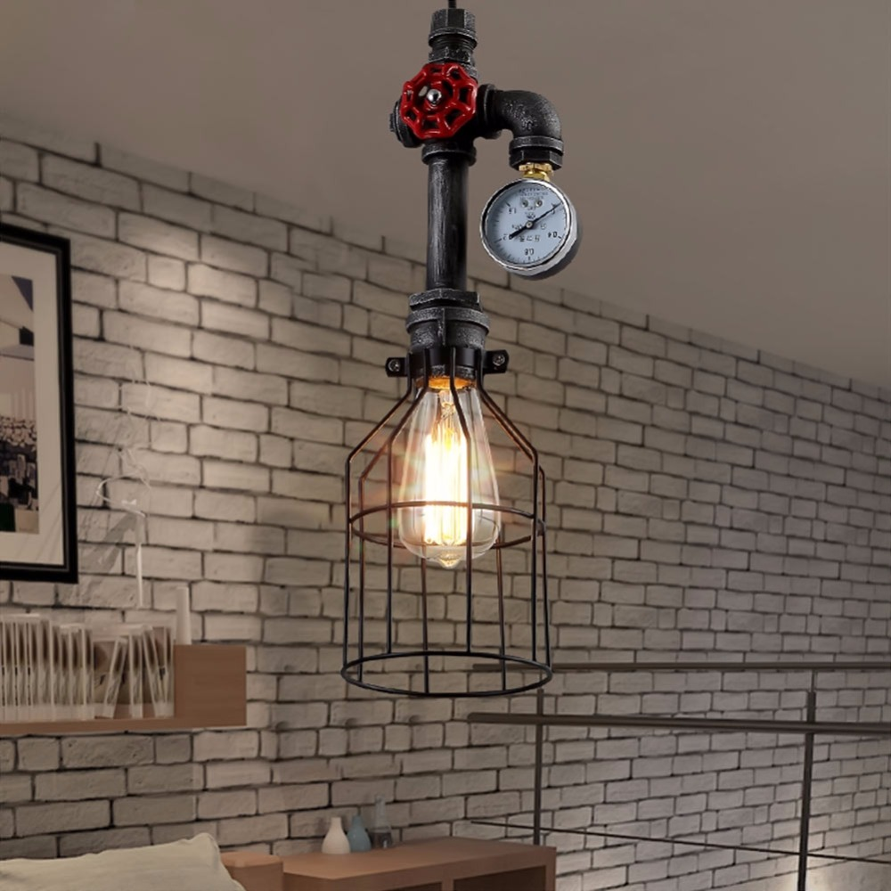 ФОТО Lamp Light Vintage Wrought Iron Water Pipe Pendant Light Bar Restaurant Themed Clubs Creative Antique Hanging Lamps