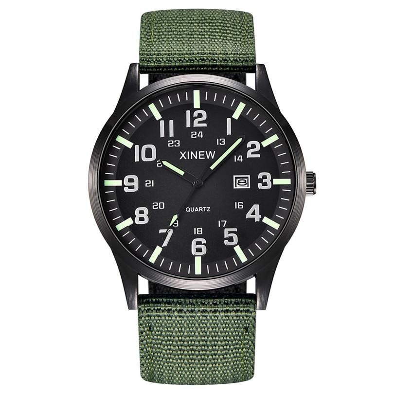 New Fashion Men Boy Round Dial Nylon Strap Band Military Smart Date Quartz Wrist Watch Gift For Business Man #4M15