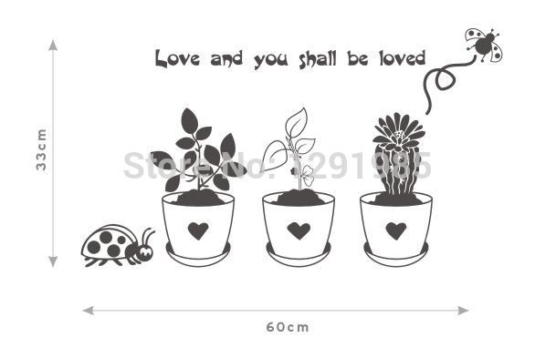 love and you shall be loved flowerpot plants Funny Wall Art Decal Sticker Home Decor Removable DIY wall sticker Poster