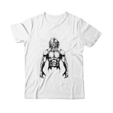 Ins Art Sketch Animated Cool Print Attack on Titan Eren Modal Mens Round Collar White Top T-Shirt A193131