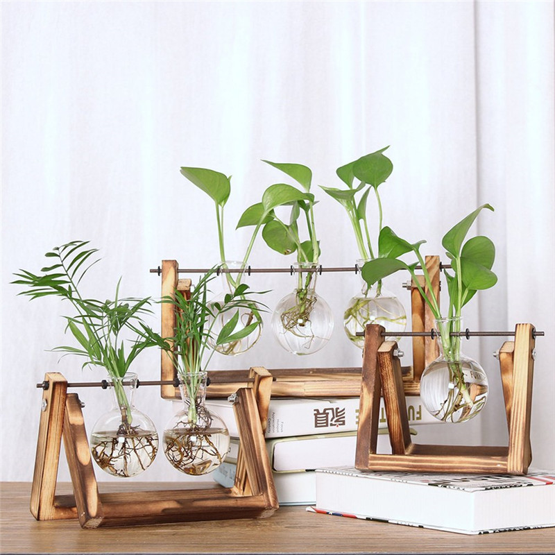 Glass Planter Bulb Vase with Retro Wooden Stand and Metal Swivel Holder EW