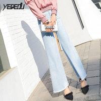 #6887 Elastic Waist Flare Jeans women Fashion Light blue Harajuku Loose Bell bottom jeans Light blue Slim hip Boyfriend Denim