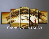 5pcs Set Oil Paintings Green Tree Abstract On Wall Art Canvas Oil Painting Hand Painted Home