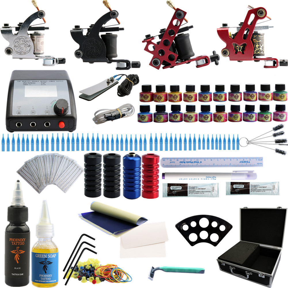 Phonenixy Tattoo Kit 4 Liner And Shader Tattoo Machines Set Guns & 50pcs Needle Tattoo Nozzle & Grips With 20 Colors Inks 100pcs disposable tattoo needle and tube 3 4 grip with tip