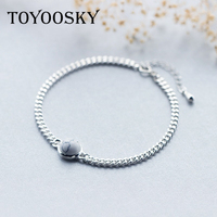 TOYOOSKY New Fashion Jewelry 925 Thai Silver Round Ball Chain Bracelets Oil Drop Round Charm Or