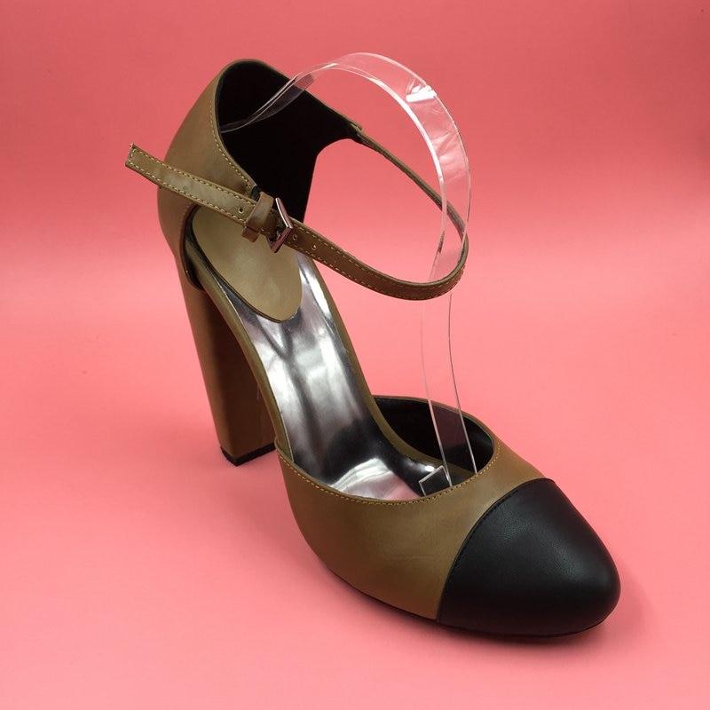 3652f4ad Punta redonda tobillo bomba de dos piezas mujeres bombas tacones gruesos tacones  altos únicos 2016 zapatos de las mujeres tamaño 12 talones de las mujeres