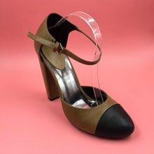 Runde Zehe Knöchelriemen Pump Zweiteilige Frauen Pumps Chunky Heels Einzigartige High Heels 2016 Frauen Schuhe Größe 12 Damen Heels