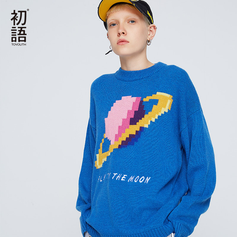 Toyouth Blue Patchwork Women Sweaters O Neck Long Sleeve Sweater Casual Letter Pullovers Oversized Sweater Jersey