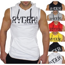 ZOGAA Mens Hooded Sleeveless Tshirts Muscle Bodybuilding Fitness Workout Tees Sport Vest Cotton Running Sweater Man Clothing