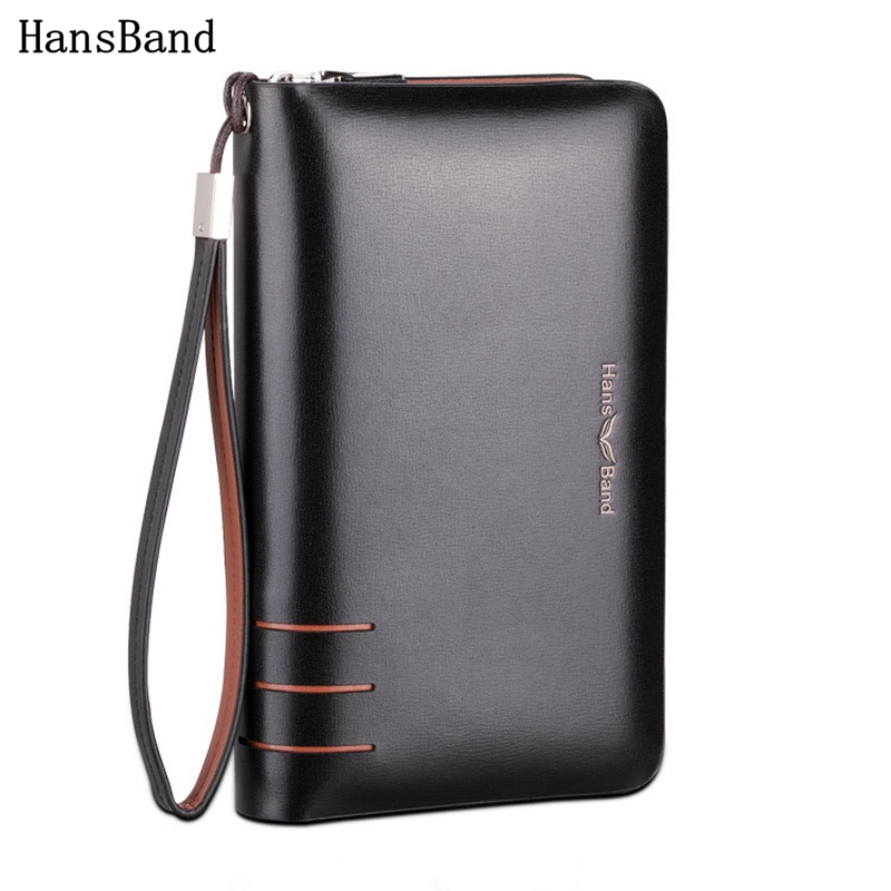 HansBand Men Genuine Leather Wallet Large capacity double zipper Purse Casual Long Business Male Clutch Wallets Men's clutch bag 2017 men clutch bag long section soft genuine leather deer pattern wallet men s handbag purse large capacity business clutch bag