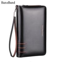HansBand Men Genuine Leather Wallet Large capacity double zipper Purse Casual Long Business Male Clutch Wallets Men's clutch bag
