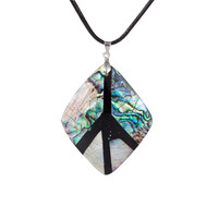 Colorful Natural Abalone Shell Peace Sign Pendant Retro Women Necklace Artistic Diy Jewelry